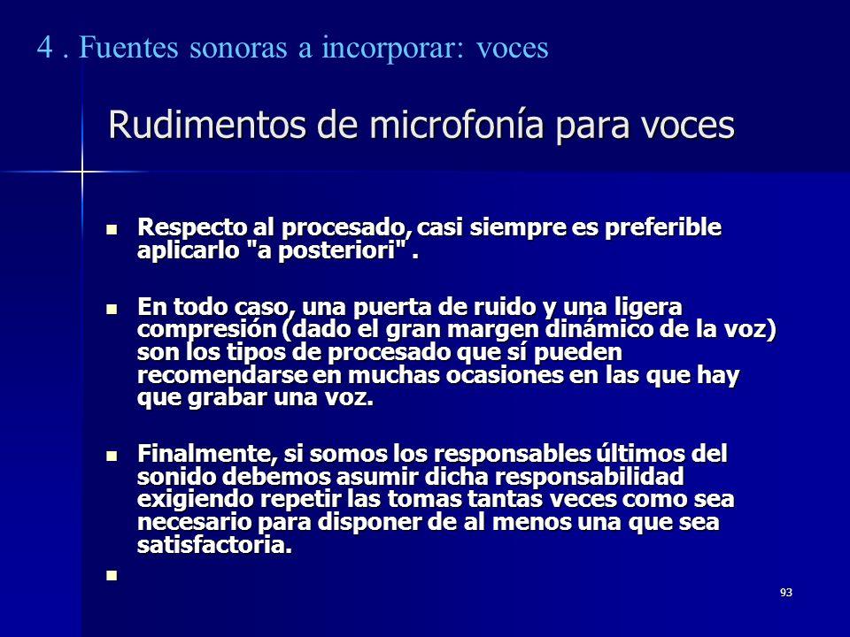 93 Rudimentos de microfonía para voces Respecto al procesado, casi siempre es preferible aplicarlo