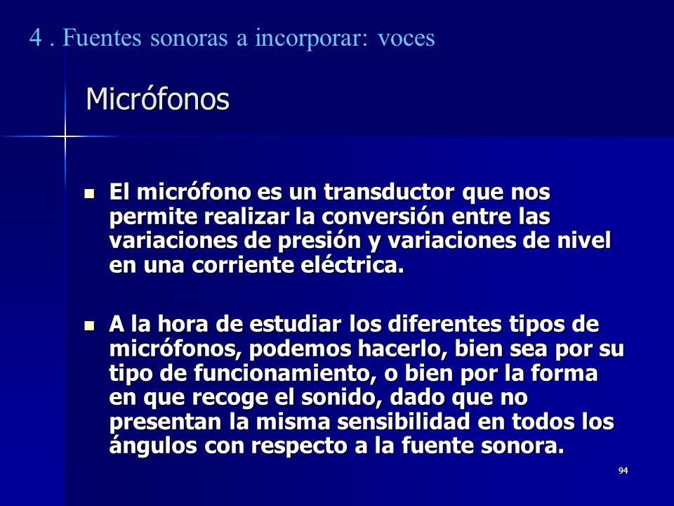 94 Micrófonos El micrófono es un transductor que nos permite realizar la conversión entre las variaciones de presión y variaciones de nivel en una cor