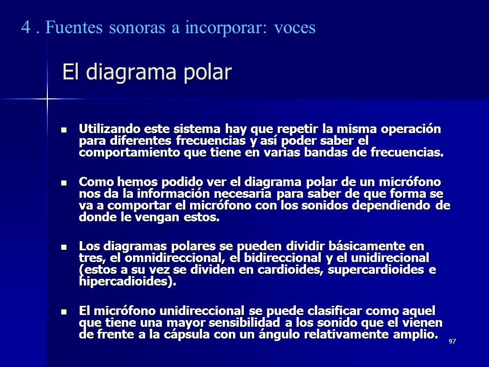 97 El diagrama polar Utilizando este sistema hay que repetir la misma operación para diferentes frecuencias y así poder saber el comportamiento que ti