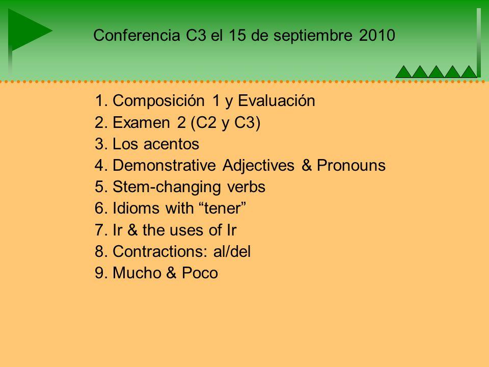 Conferencia C3 el 15 de septiembre 2010 1. Composición 1 y Evaluación 2.