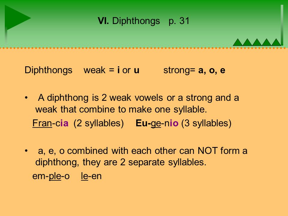 VI. Diphthongs p. 31 Diphthongs weak = i or u strong= a, o, e A diphthong is 2 weak vowels or a strong and a weak that combine to make one syllable. F