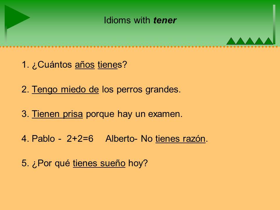Idioms with tener 1. ¿Cuántos años tienes. 2. Tengo miedo de los perros grandes.