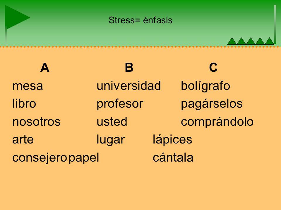 Stress= énfasis ABC mesauniversidadbolígrafo libroprofesorpagárselos nosotrosustedcomprándolo artelugarlápices consejeropapelcántala