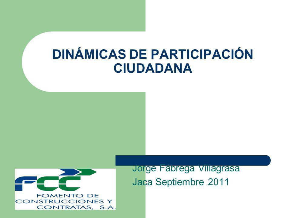 DINÁMICAS DE PARTICIPACIÓN CIUDADANA Jorge Fábrega Villagrasa Jaca Septiembre 2011