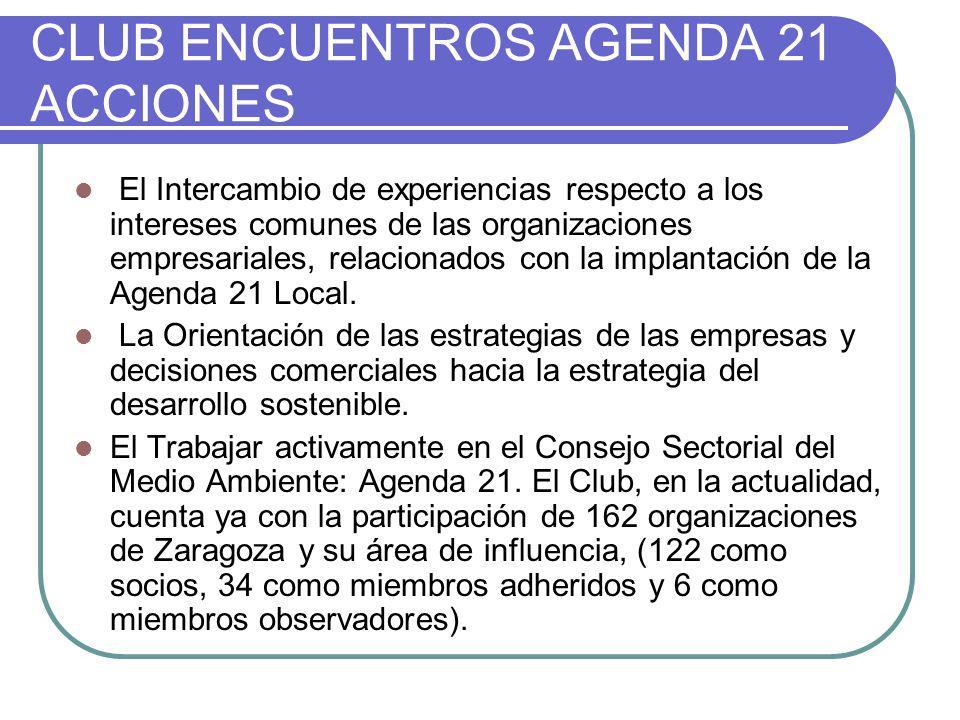 CLUB ENCUENTROS AGENDA 21 ACCIONES El Intercambio de experiencias respecto a los intereses comunes de las organizaciones empresariales, relacionados c