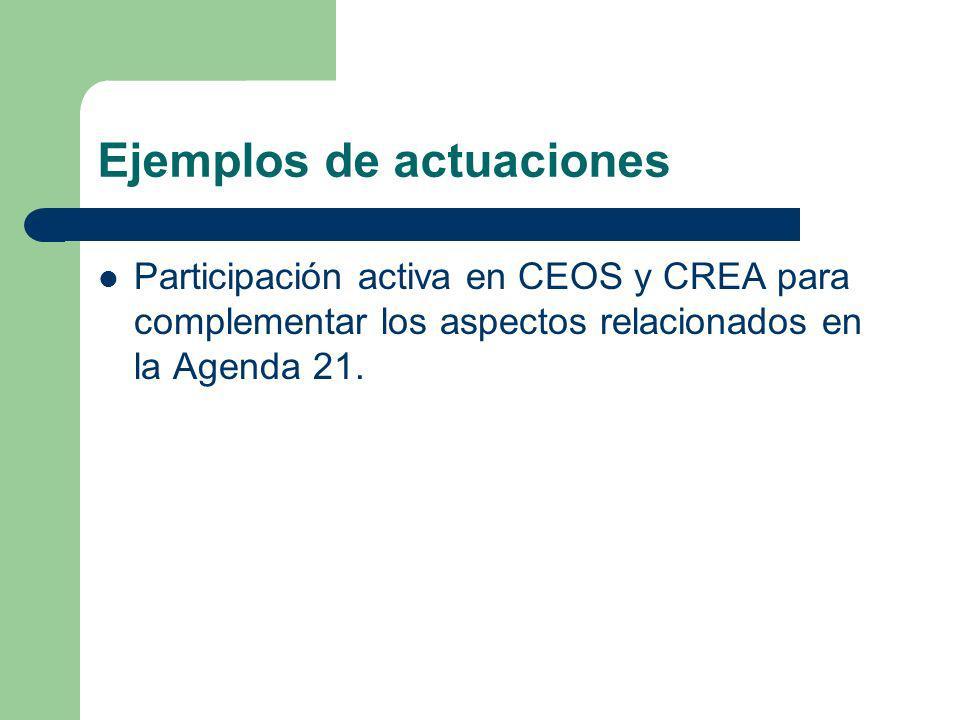 Ejemplos de actuaciones Participación activa en CEOS y CREA para complementar los aspectos relacionados en la Agenda 21.