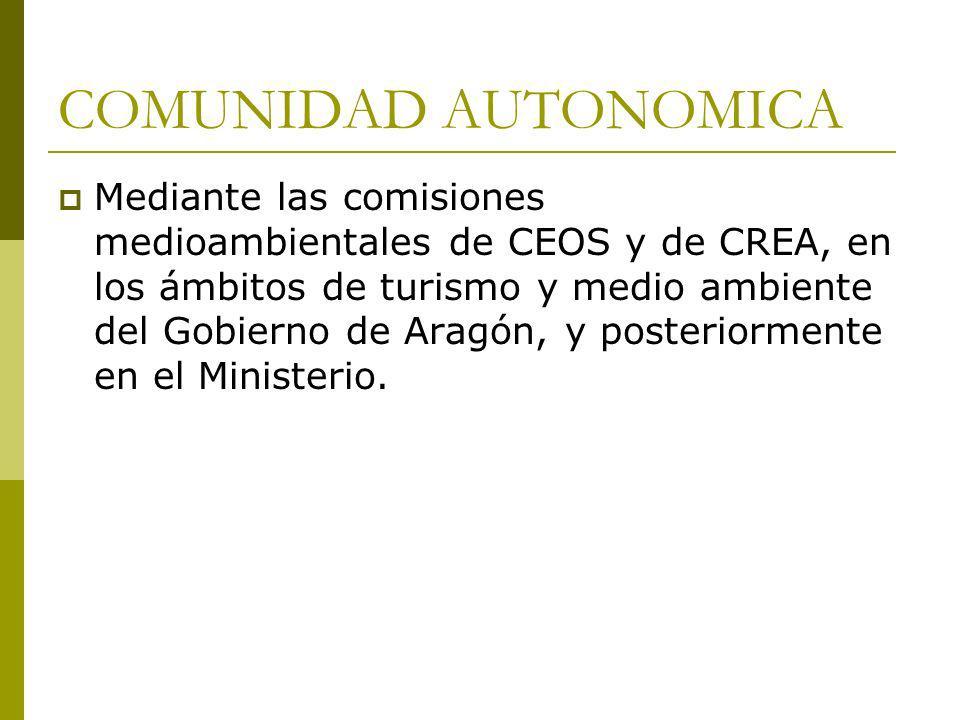 COMUNIDAD AUTONOMICA Mediante las comisiones medioambientales de CEOS y de CREA, en los ámbitos de turismo y medio ambiente del Gobierno de Aragón, y