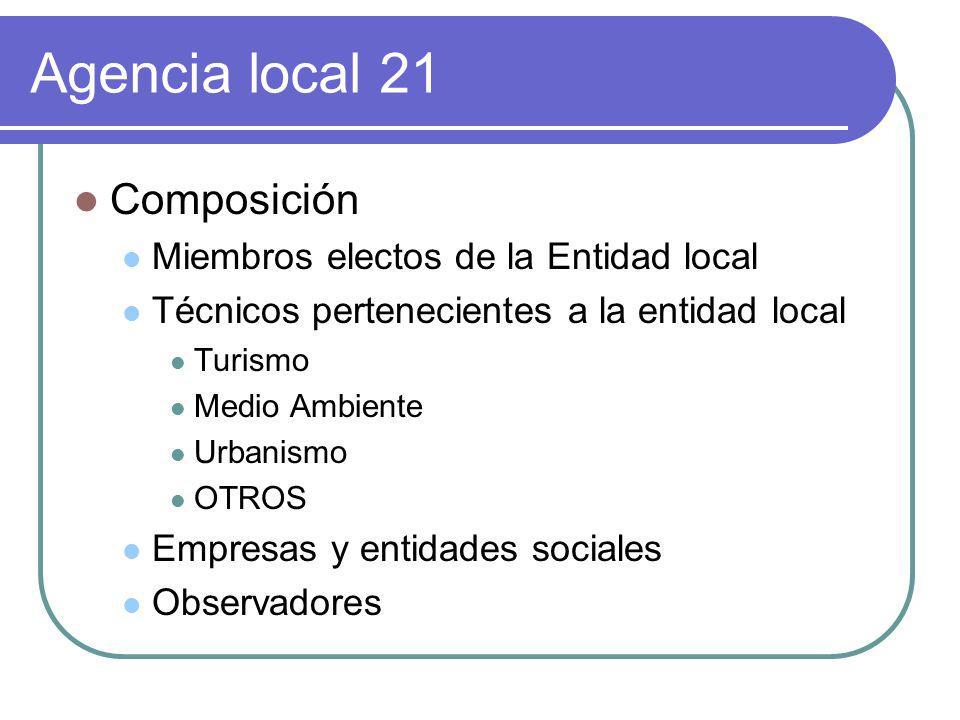 Agencia local 21 Composición Miembros electos de la Entidad local Técnicos pertenecientes a la entidad local Turismo Medio Ambiente Urbanismo OTROS Em