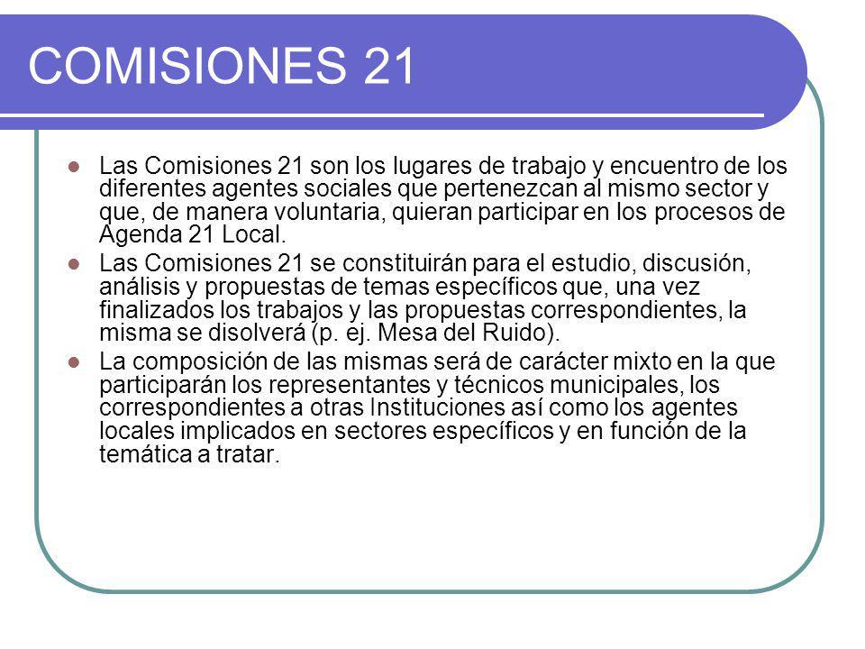 COMISIONES 21 Las Comisiones 21 son los lugares de trabajo y encuentro de los diferentes agentes sociales que pertenezcan al mismo sector y que, de ma