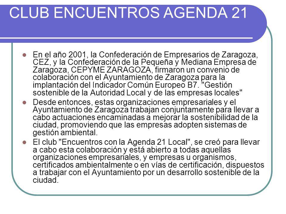 CLUB ENCUENTROS AGENDA 21 En el año 2001, la Confederación de Empresarios de Zaragoza, CEZ, y la Confederación de la Pequeña y Mediana Empresa de Zara