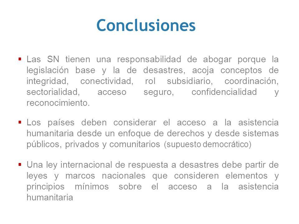 Conclusiones Las SN tienen una responsabilidad de abogar porque la legislación base y la de desastres, acoja conceptos de integridad, conectividad, ro