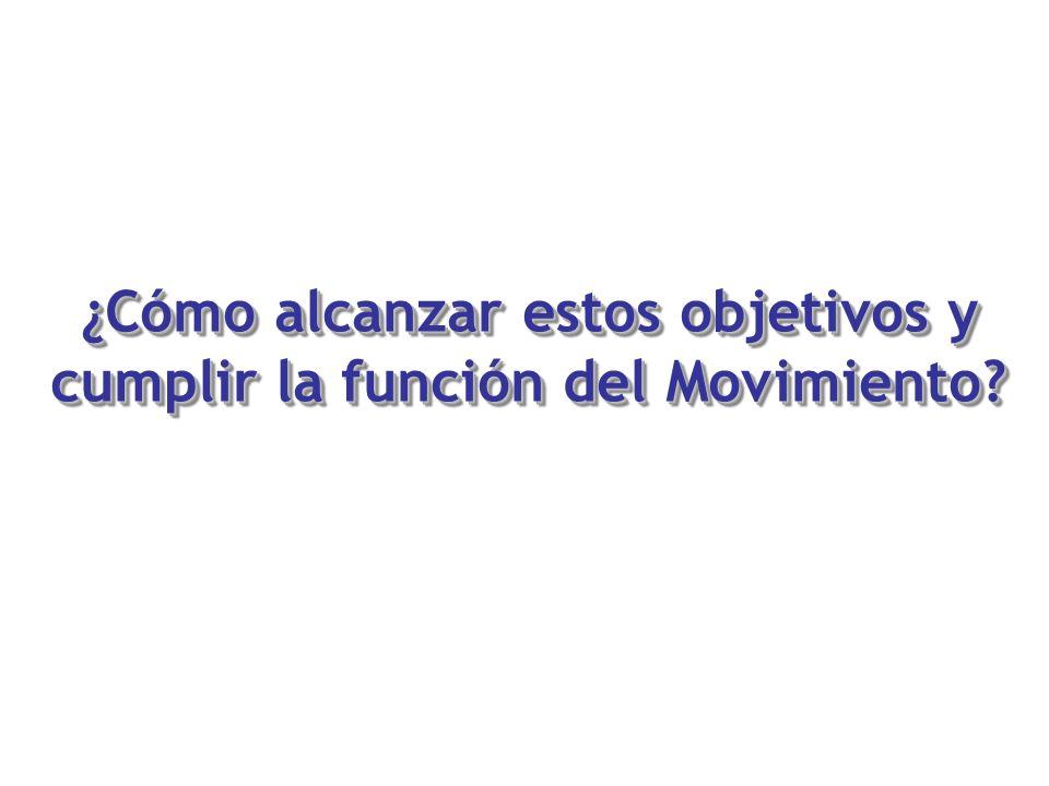 ¿Cómo alcanzar estos objetivos y cumplir la función del Movimiento?