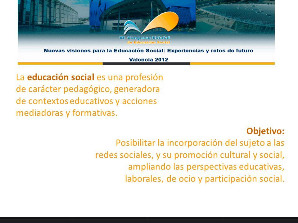 La educación social es una profesión de carácter pedagógico, generadora de contextos educativos y acciones mediadoras y formativas. Objetivo: Posibili
