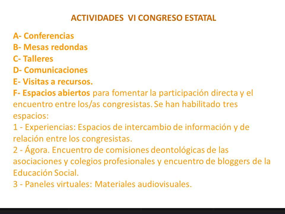 ACTIVIDADES VI CONGRESO ESTATAL A- Conferencias B- Mesas redondas C- Talleres D- Comunicaciones E- Visitas a recursos. F- Espacios abiertos para fomen