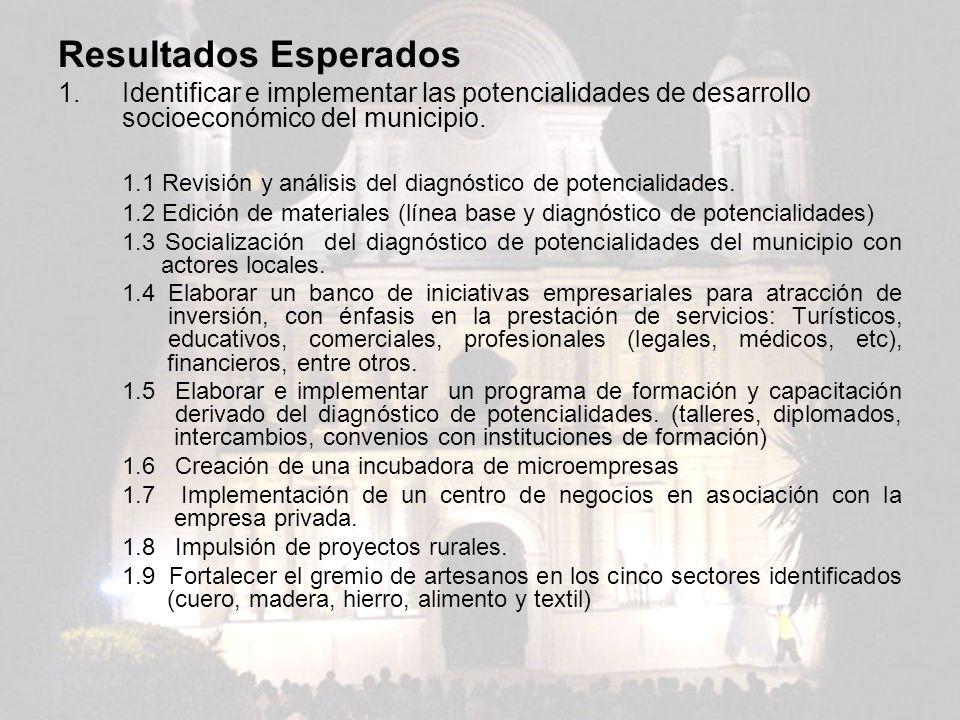Resultados Esperados 1.Identificar e implementar las potencialidades de desarrollo socioeconómico del municipio. 1.1 Revisión y análisis del diagnósti