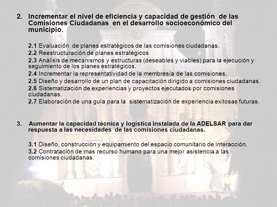 2. Incrementar el nivel de eficiencia y capacidad de gestión de las Comisiones Ciudadanas en el desarrollo socioeconómico del municipio. 2.1 Evaluació