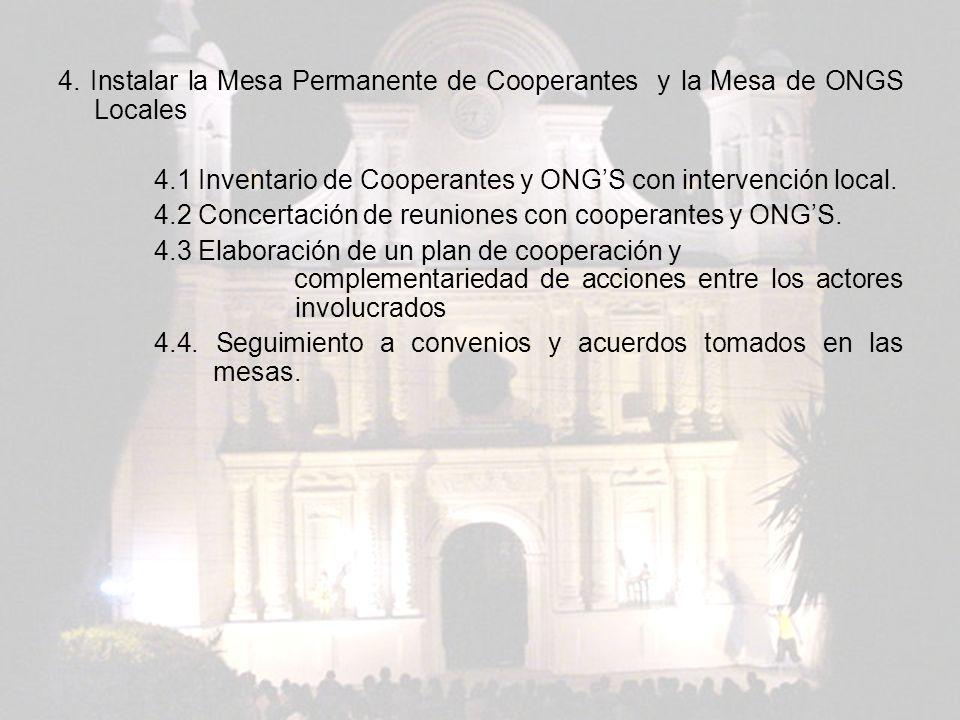 4. Instalar la Mesa Permanente de Cooperantes y la Mesa de ONGS Locales 4.1 Inventario de Cooperantes y ONGS con intervención local. 4.2 Concertación
