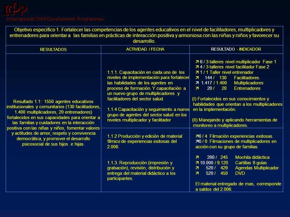 International Child Development Programmes Objetivo Específico 2.