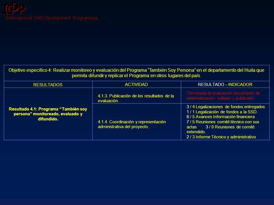 International Child Development Programmes Objetivo especifico 4: Realizar monitoreo y evaluación del Programa También Soy Persona en el departamento
