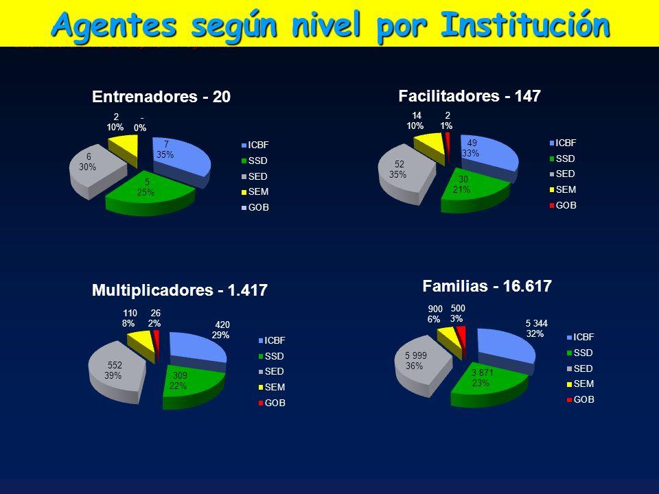 International Child Development Programmes Agentes según nivel por Institución