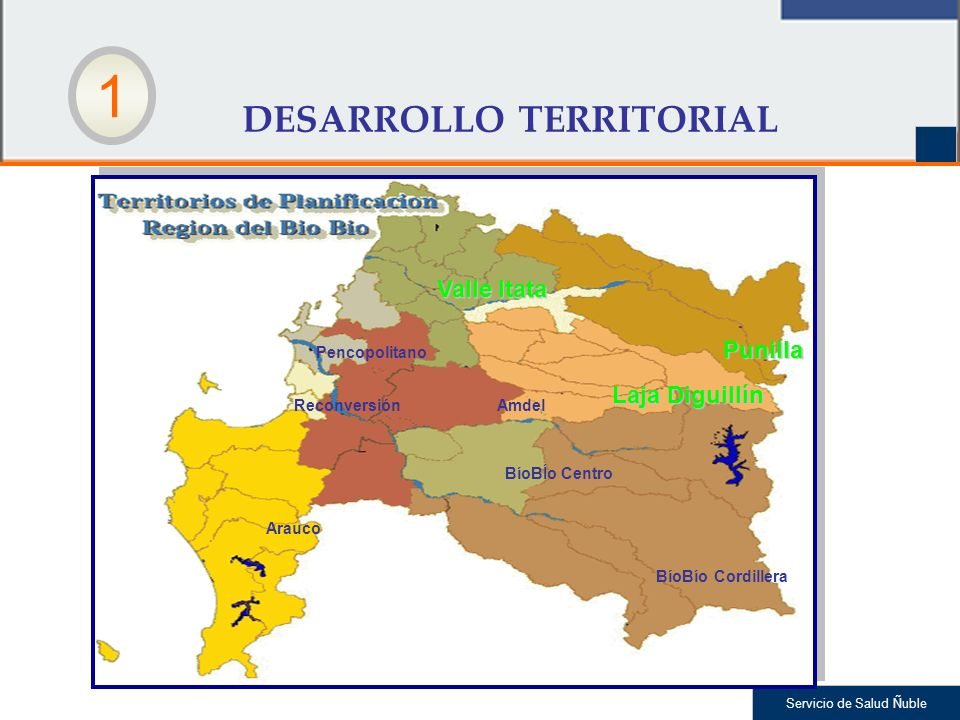 Servicio de Salud Ñuble 1 DESARROLLO TERRITORIAL Valle Itata Laja Diguillín Punilla Pencopolitano ReconversiónAmdel BíoBÍo Centro BíoBío Cordillera Arauco