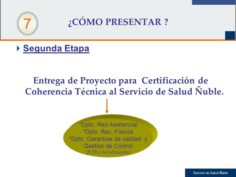 Servicio de Salud Ñuble Segunda Etapa ¿CÓMO PRESENTAR ? Entrega de Proyecto para Certificación de Coherencia Técnica al Servicio de Salud Ñuble. *Dpto