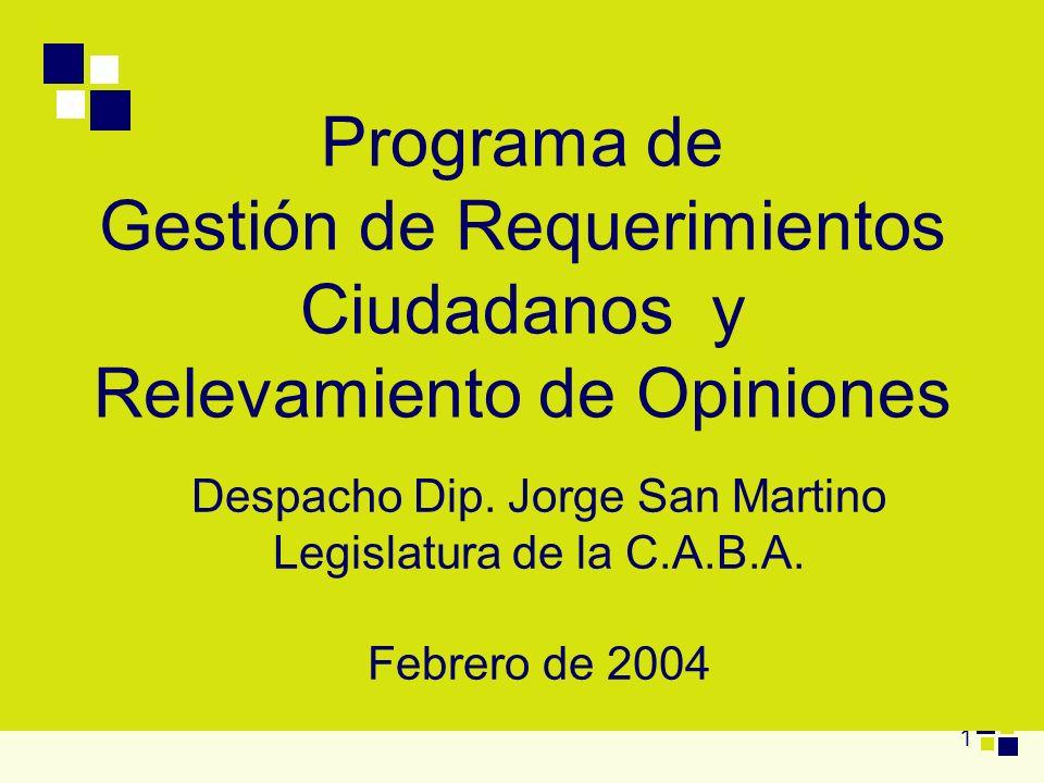 1 Programa de Gestión de Requerimientos Ciudadanos y Relevamiento de Opiniones Despacho Dip. Jorge San Martino Legislatura de la C.A.B.A. Febrero de 2