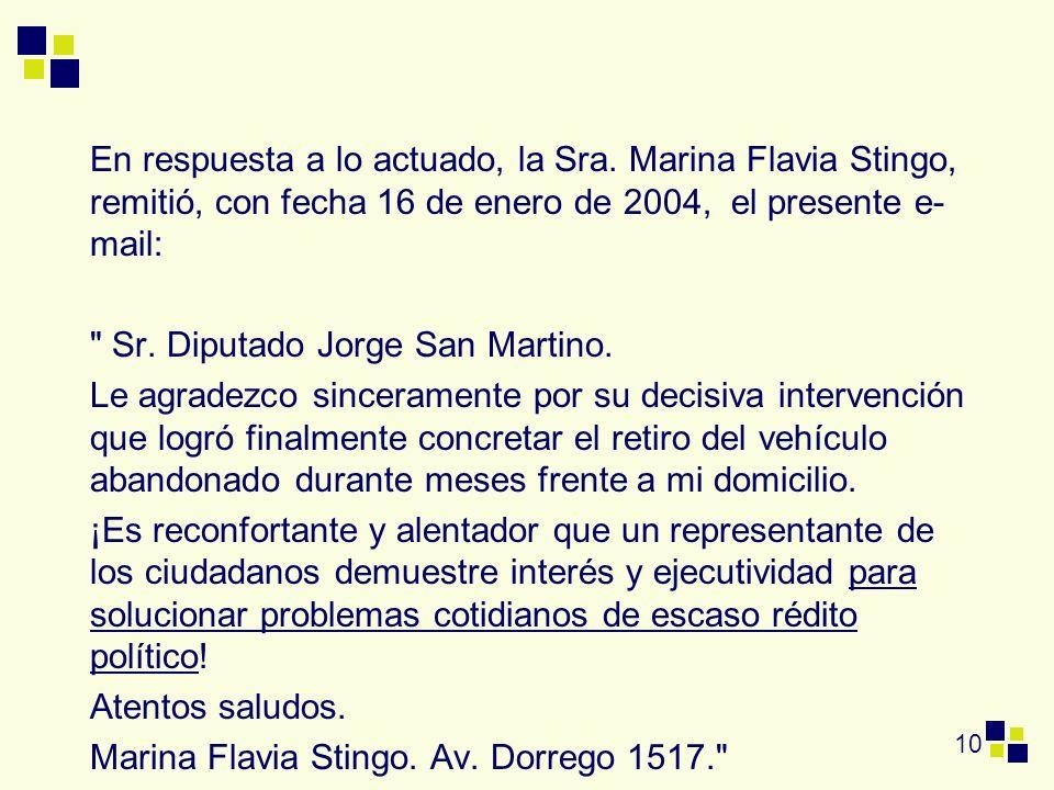 10 En respuesta a lo actuado, la Sra. Marina Flavia Stingo, remitió, con fecha 16 de enero de 2004, el presente e- mail: