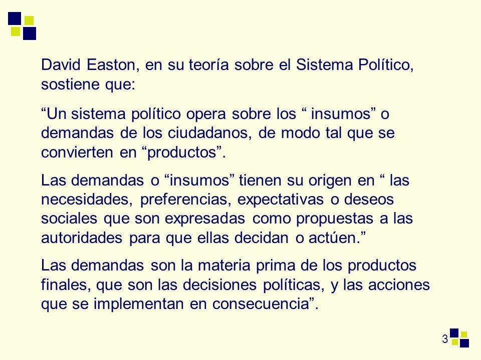 3 David Easton, en su teoría sobre el Sistema Político, sostiene que: Un sistema político opera sobre los insumos o demandas de los ciudadanos, de mod
