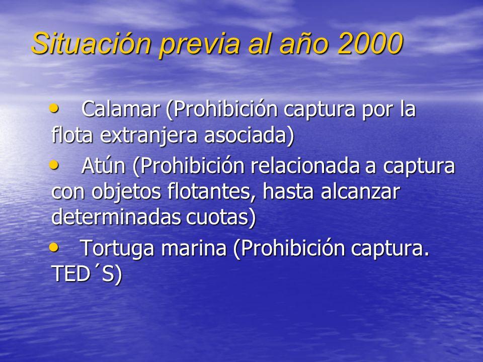 Situación previa al año 2000 Calamar (Prohibición captura por la flota extranjera asociada) Calamar (Prohibición captura por la flota extranjera asociada) Atún (Prohibición relacionada a captura con objetos flotantes, hasta alcanzar determinadas cuotas) Atún (Prohibición relacionada a captura con objetos flotantes, hasta alcanzar determinadas cuotas) Tortuga marina (Prohibición captura.