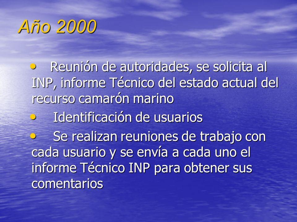 A partir del año 2000 Con el recurso camarón marino, se inicia un proceso de acercamiento con los distintos actores. Con el recurso camarón marino, se