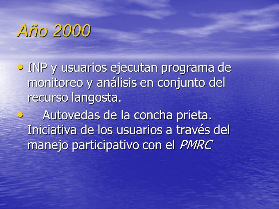 Año 2000 Se inicia programa intensivo de difusión por la Dirección General de Pesca Se inicia programa intensivo de difusión por la Dirección General