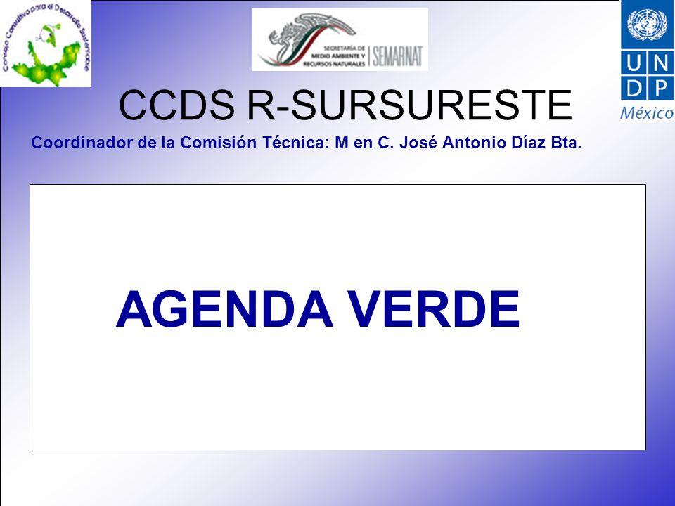 CCDS R-SURSURESTE Coordinador de la Comisión Técnica: M en C. José Antonio Díaz Bta. AGENDA VERDE