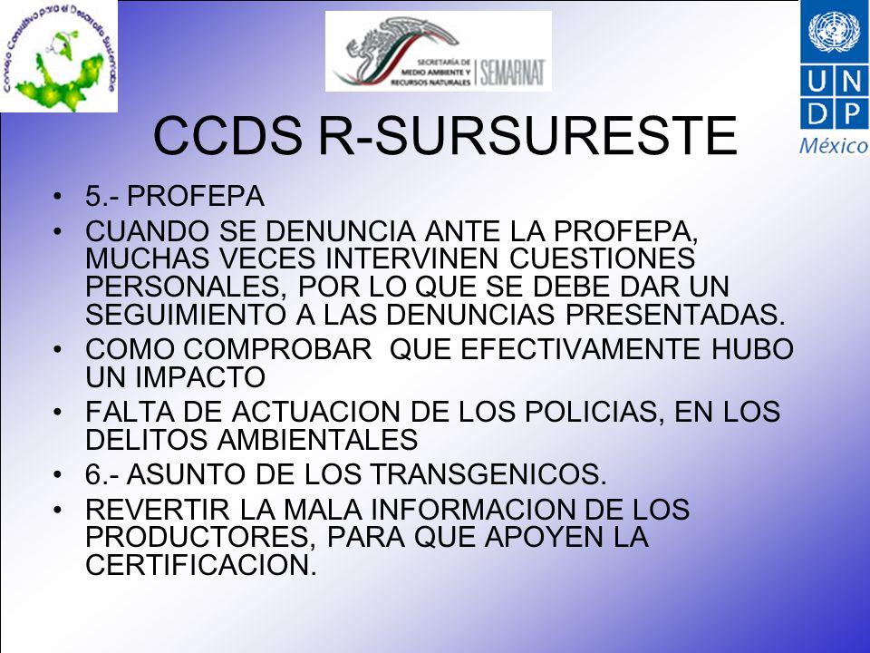 CCDS R-SURSURESTE 5.- PROFEPA CUANDO SE DENUNCIA ANTE LA PROFEPA, MUCHAS VECES INTERVINEN CUESTIONES PERSONALES, POR LO QUE SE DEBE DAR UN SEGUIMIENTO A LAS DENUNCIAS PRESENTADAS.