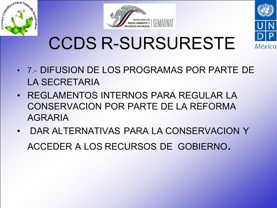 CCDS R-SURSURESTE 7.- DIFUSION DE LOS PROGRAMAS POR PARTE DE LA SECRETARIA REGLAMENTOS INTERNOS PARA REGULAR LA CONSERVACION POR PARTE DE LA REFORMA AGRARIA DAR ALTERNATIVAS PARA LA CONSERVACION Y ACCEDER A LOS RECURSOS DE GOBIERNO.