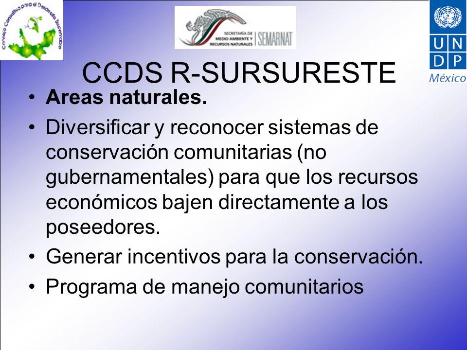 CCDS R-SURSURESTE Areas naturales. Diversificar y reconocer sistemas de conservación comunitarias (no gubernamentales) para que los recursos económico