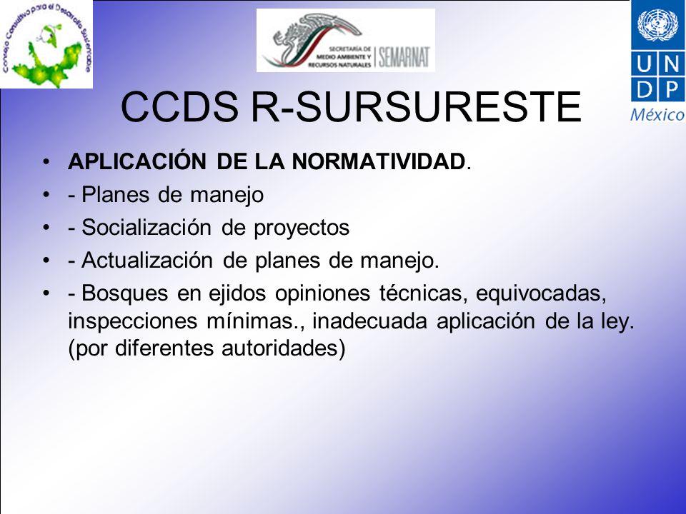 CCDS R-SURSURESTE APLICACIÓN DE LA NORMATIVIDAD. - Planes de manejo - Socialización de proyectos - Actualización de planes de manejo. - Bosques en eji