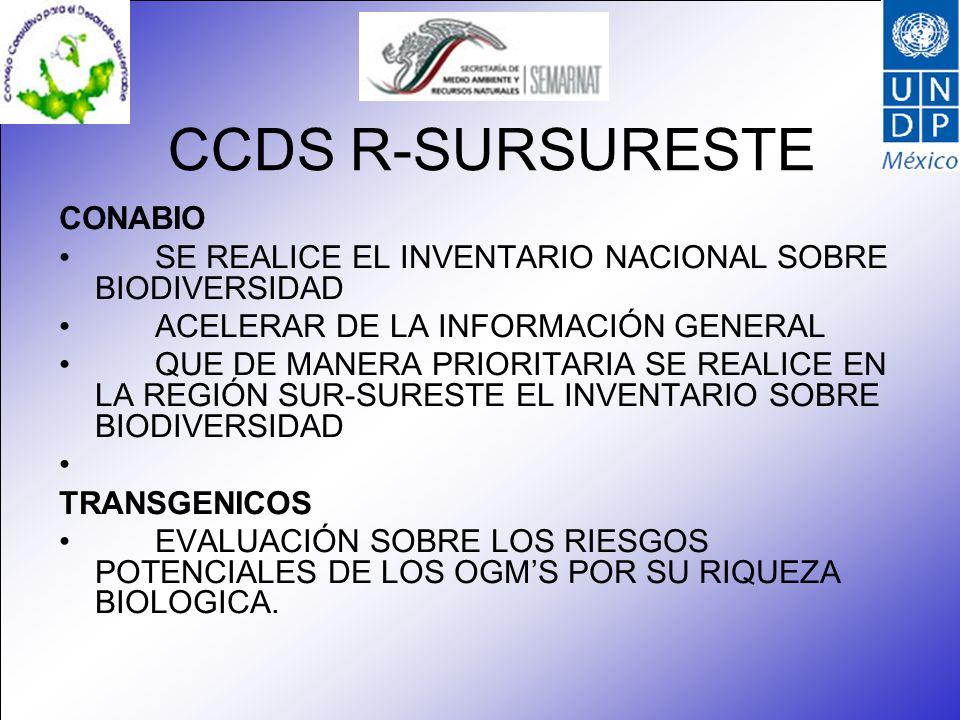 CCDS R-SURSURESTE CONABIO SE REALICE EL INVENTARIO NACIONAL SOBRE BIODIVERSIDAD ACELERAR DE LA INFORMACIÓN GENERAL QUE DE MANERA PRIORITARIA SE REALIC