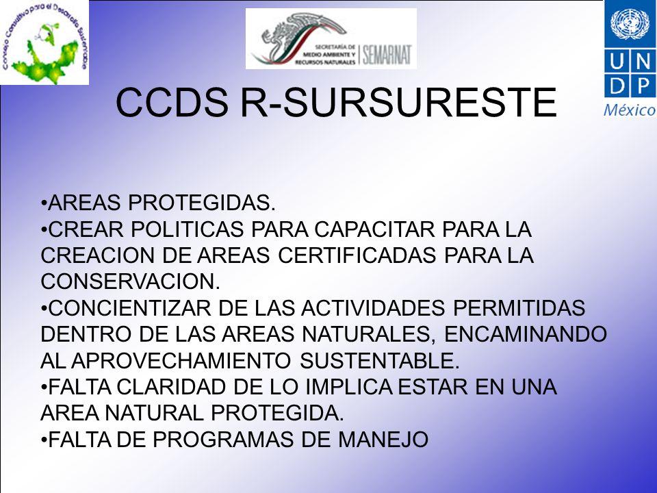 CCDS R-SURSURESTE AREAS PROTEGIDAS.