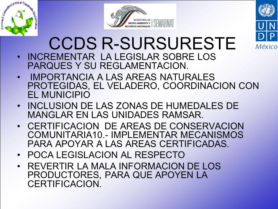 CCDS R-SURSURESTE INCREMENTAR LA LEGISLAR SOBRE LOS PARQUES Y SU REGLAMENTACION. IMPORTANCIA A LAS AREAS NATURALES PROTEGIDAS, EL VELADERO, COORDINACI