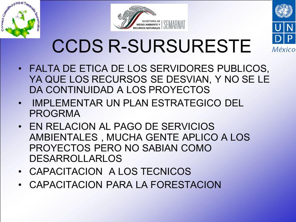 CCDS R-SURSURESTE FALTA DE ETICA DE LOS SERVIDORES PUBLICOS, YA QUE LOS RECURSOS SE DESVIAN, Y NO SE LE DA CONTINUIDAD A LOS PROYECTOS IMPLEMENTAR UN PLAN ESTRATEGICO DEL PROGRMA EN RELACION AL PAGO DE SERVICIOS AMBIENTALES, MUCHA GENTE APLICO A LOS PROYECTOS PERO NO SABIAN COMO DESARROLLARLOS CAPACITACION A LOS TECNICOS CAPACITACION PARA LA FORESTACION