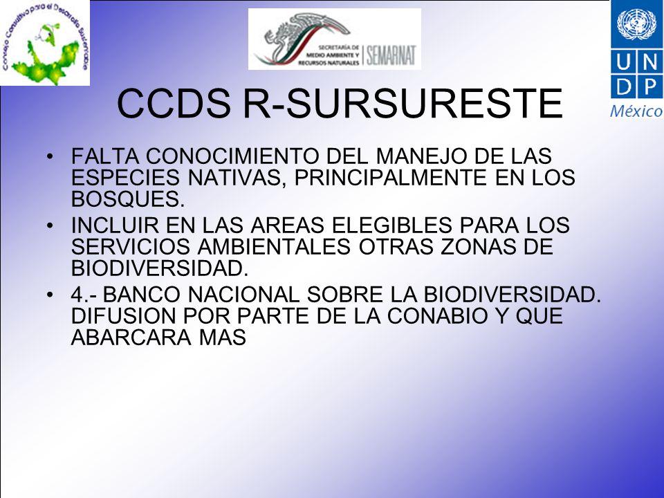 CCDS R-SURSURESTE FALTA CONOCIMIENTO DEL MANEJO DE LAS ESPECIES NATIVAS, PRINCIPALMENTE EN LOS BOSQUES. INCLUIR EN LAS AREAS ELEGIBLES PARA LOS SERVIC