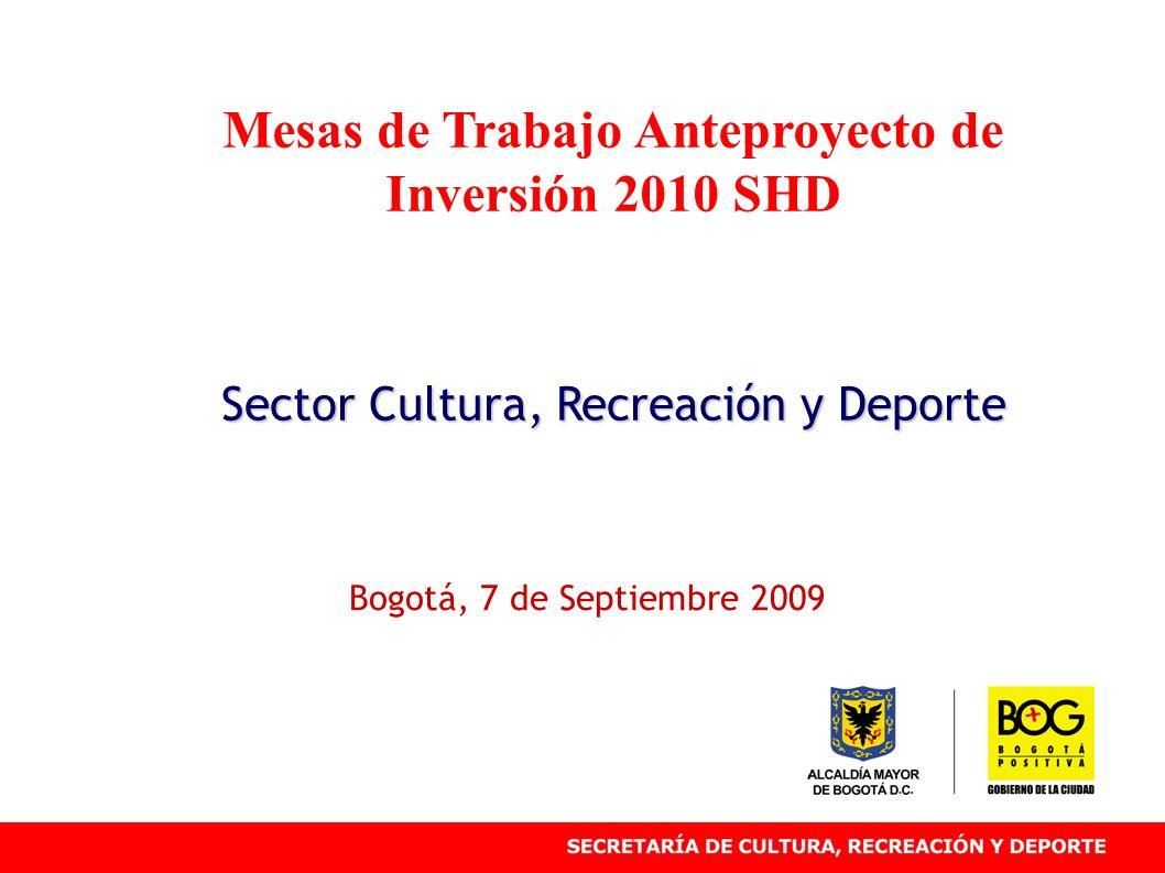 Mesas de Trabajo Anteproyecto de Inversión 2010 SHD Sector Cultura, Recreación y Deporte Bogotá, 7 de Septiembre 2009