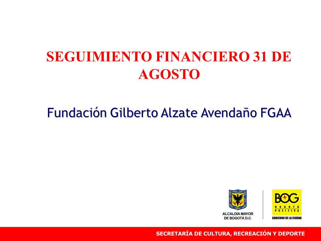 SEGUIMIENTO FINANCIERO 31 DE AGOSTO Fundación Gilberto Alzate Avendaño FGAA