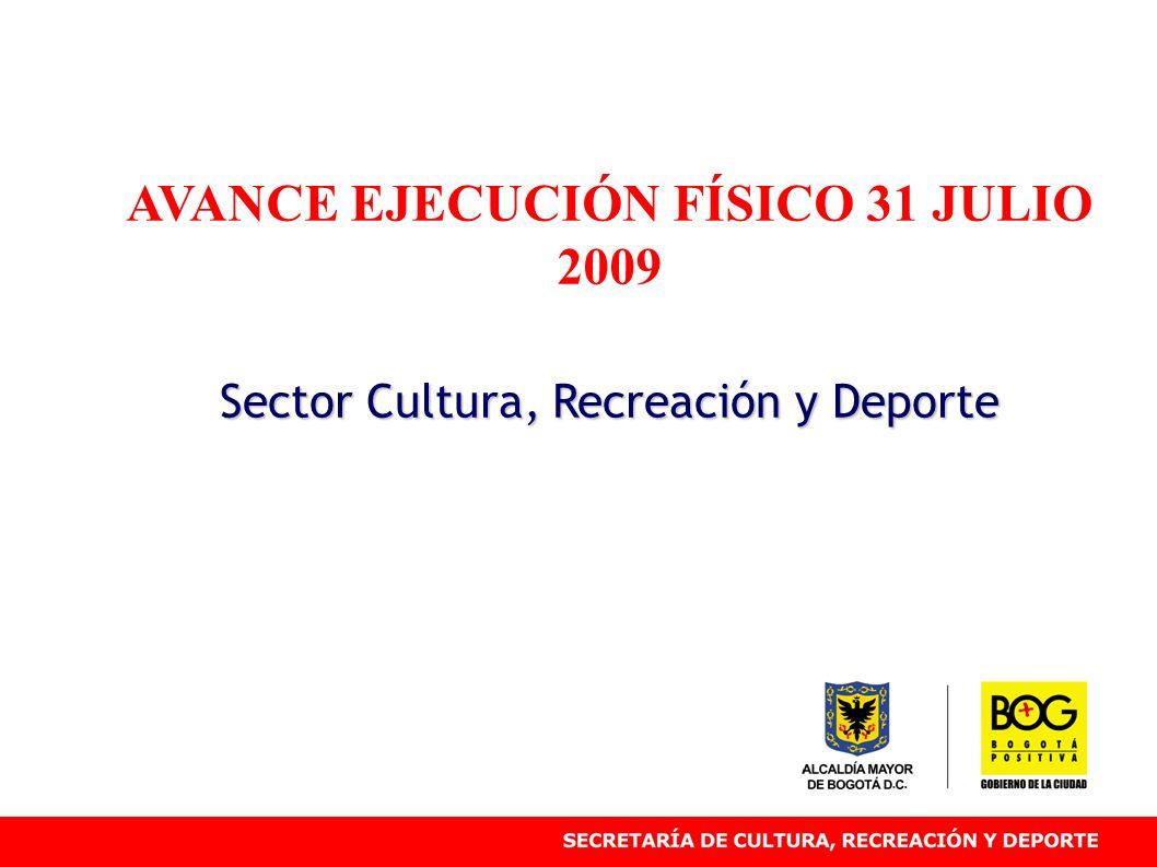 AVANCE EJECUCIÓN FÍSICO 31 JULIO 2009 Sector Cultura, Recreación y Deporte