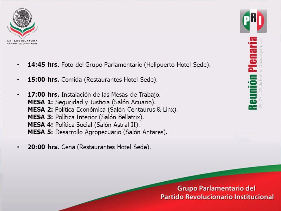 14:45 hrs. Foto del Grupo Parlamentario (Helipuerto Hotel Sede).