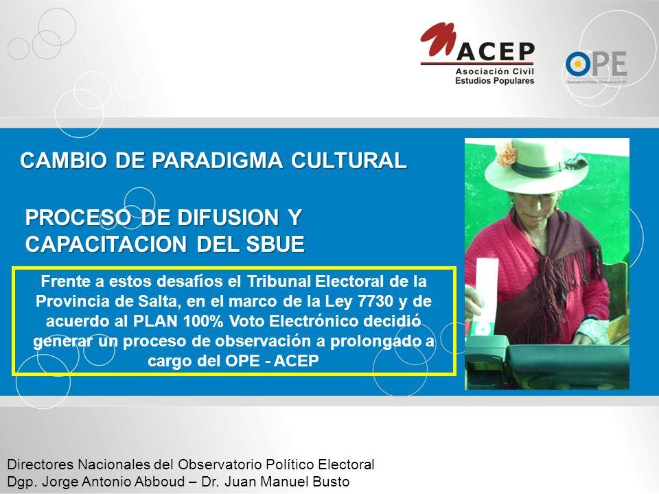 Operaciones de gestión del sistema electoral: Operaciones de implementación: GRADUAL Y PROGRESIVA Normativa.