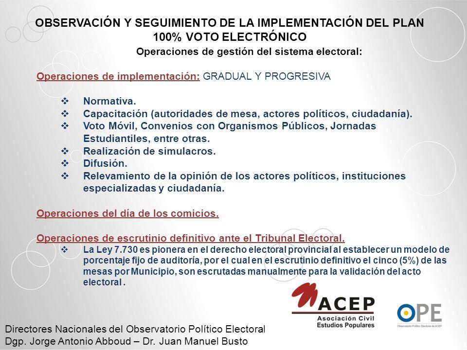 ACTIVIDADES DEL OBSERVATORIO POLITICO ELECTORAL DE ACEP o Informes de Seguimiento sobre el cumplimiento de las metas y objetivos perseguidos en el marco del Plan 100% voto electrónico sobre: o Capacitación de autoridades de mesa.