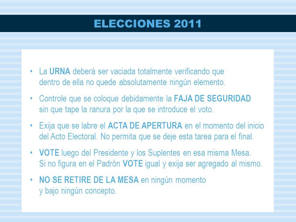 ELECCIONES 2011 La URNA deberá ser vaciada totalmente verificando que dentro de ella no quede absolutamente ningún elemento.