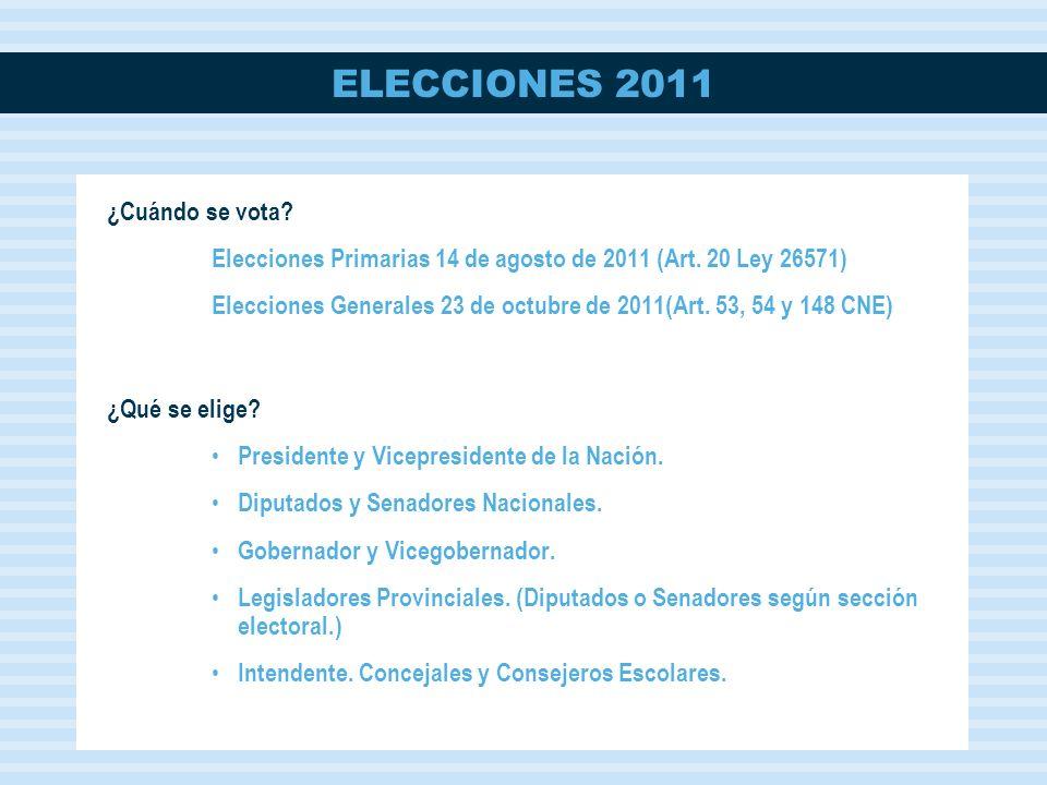 ELECCIONES 2011 ¿Cuál es la ley que rige estas elecciones.